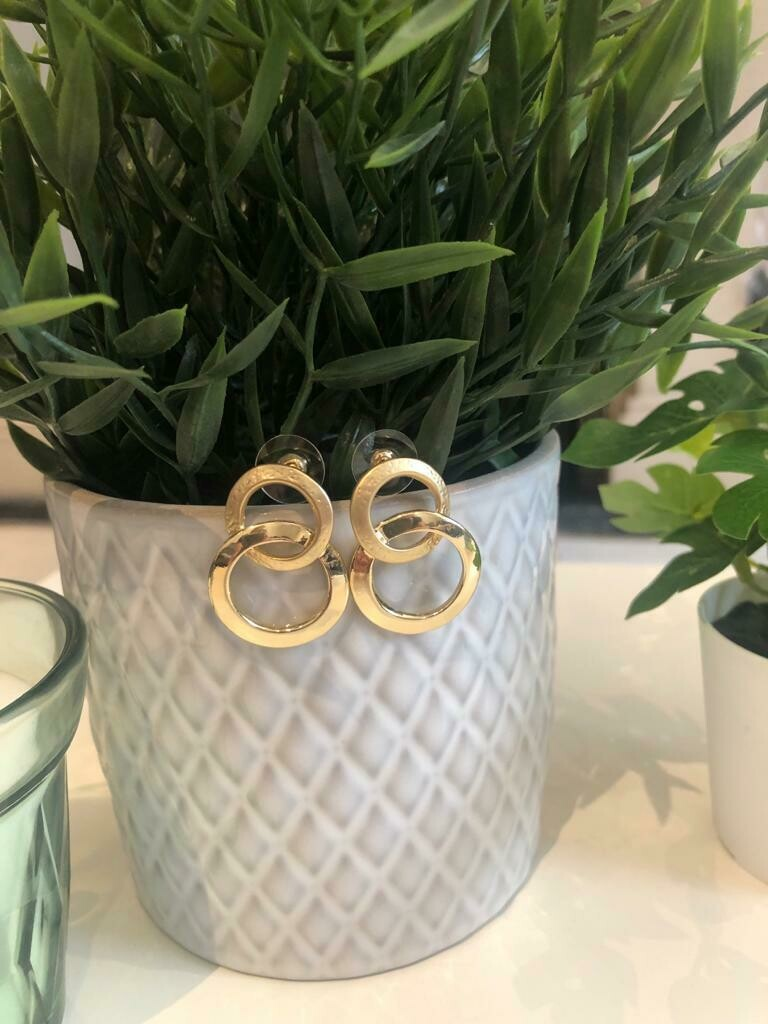 Oorbellen dubbele ringen goud