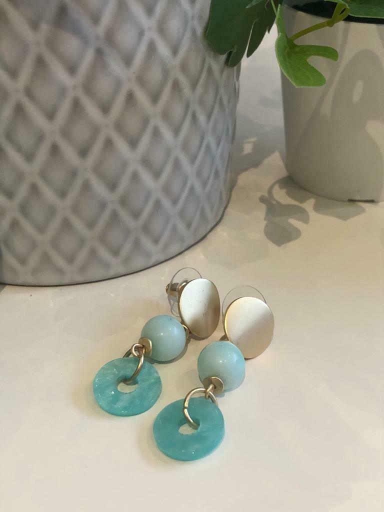 Oorbellen turquoise ring/hanger
