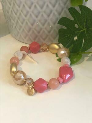 Armband roze/gold