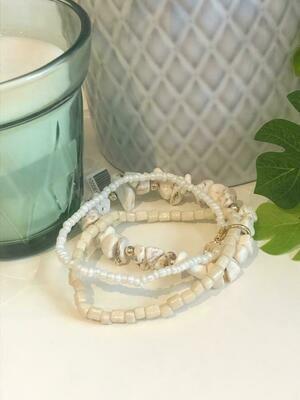 Armband set steentjes/parels ecru