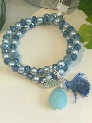 Armband set blauw/metalic