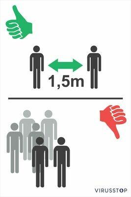 Info Bord: Samenscholing verboden - Duim groen/rood