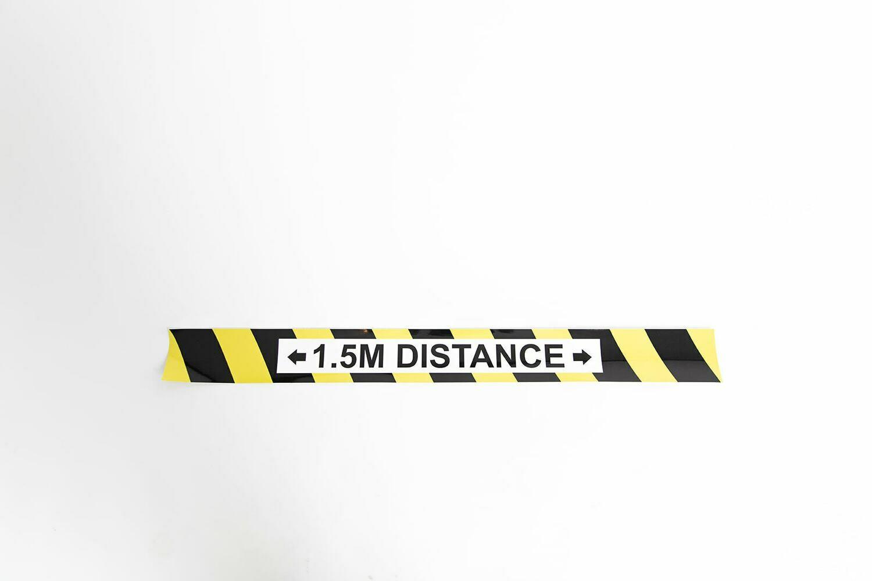 Vloersticker: 3 X Vloerlijn zwart/geel 1,5m Distance