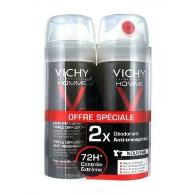VICHY HOMME DEO TRI-SPRAY 72H DUO 2X150ML