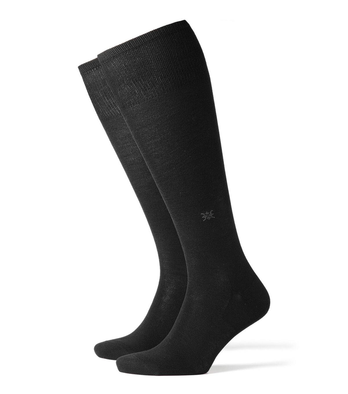 Burlington Kniesocken Baumwolle schwarz