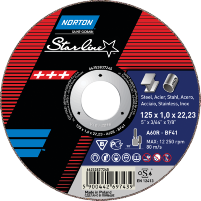 Tarcza 125x1,0x22.2 A 60 R-BF41 Starline NORTON met./inox