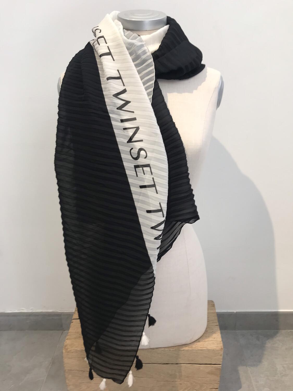 Twin Set sjaal zwart-wit plissé