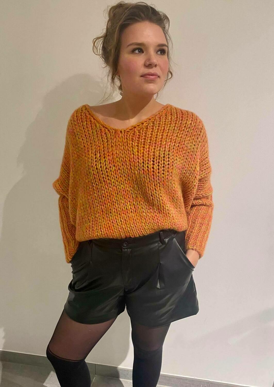 Ramona-C pull V-hals multicolor oranje