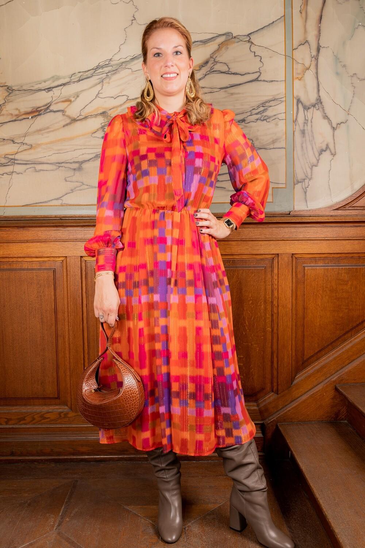Twin Set halflang kleed oranje gekleurde print