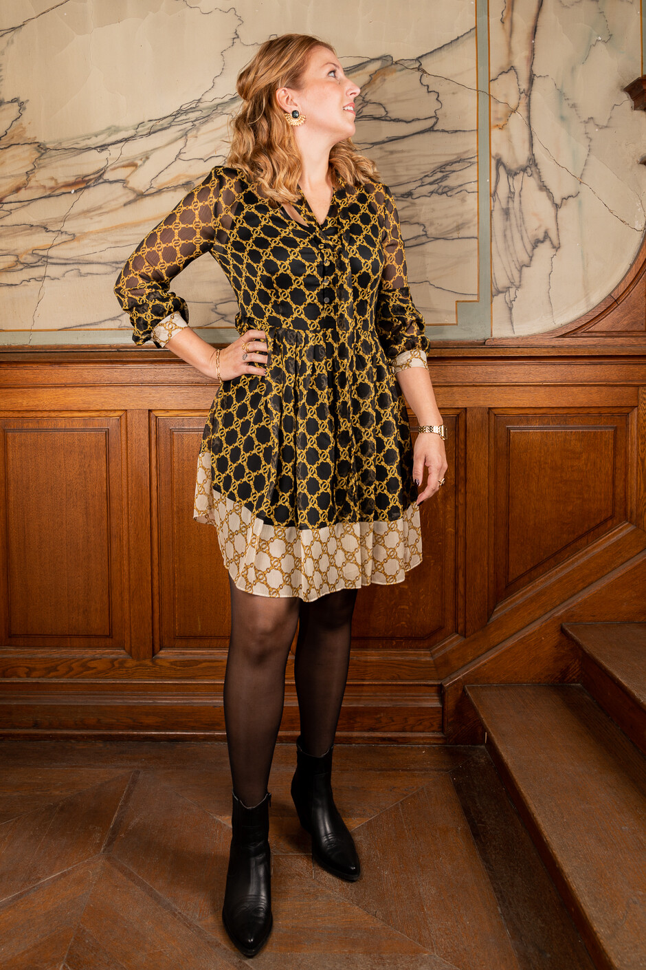 Twin Set halflang kleed met Hermesprint