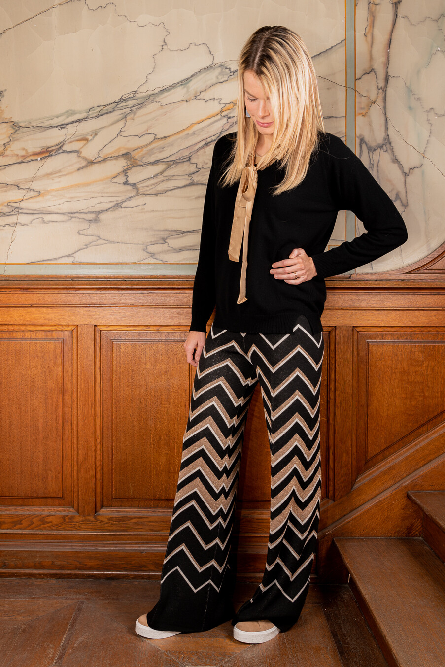 Twin Set broek zigzagprint