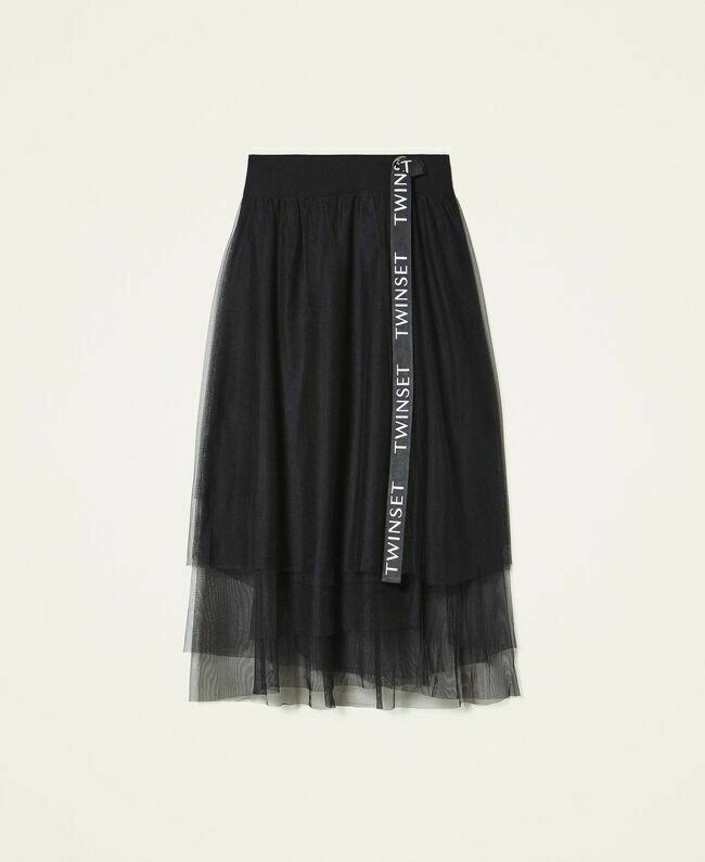 Twin Set rok met tulle zwart met logo