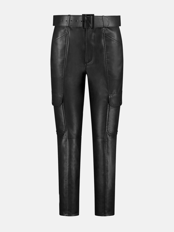Nikkie ecolederen broek zwart