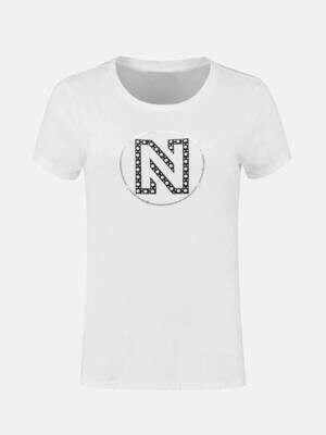 Nikkie Round Pearls T-shirt wit met logo