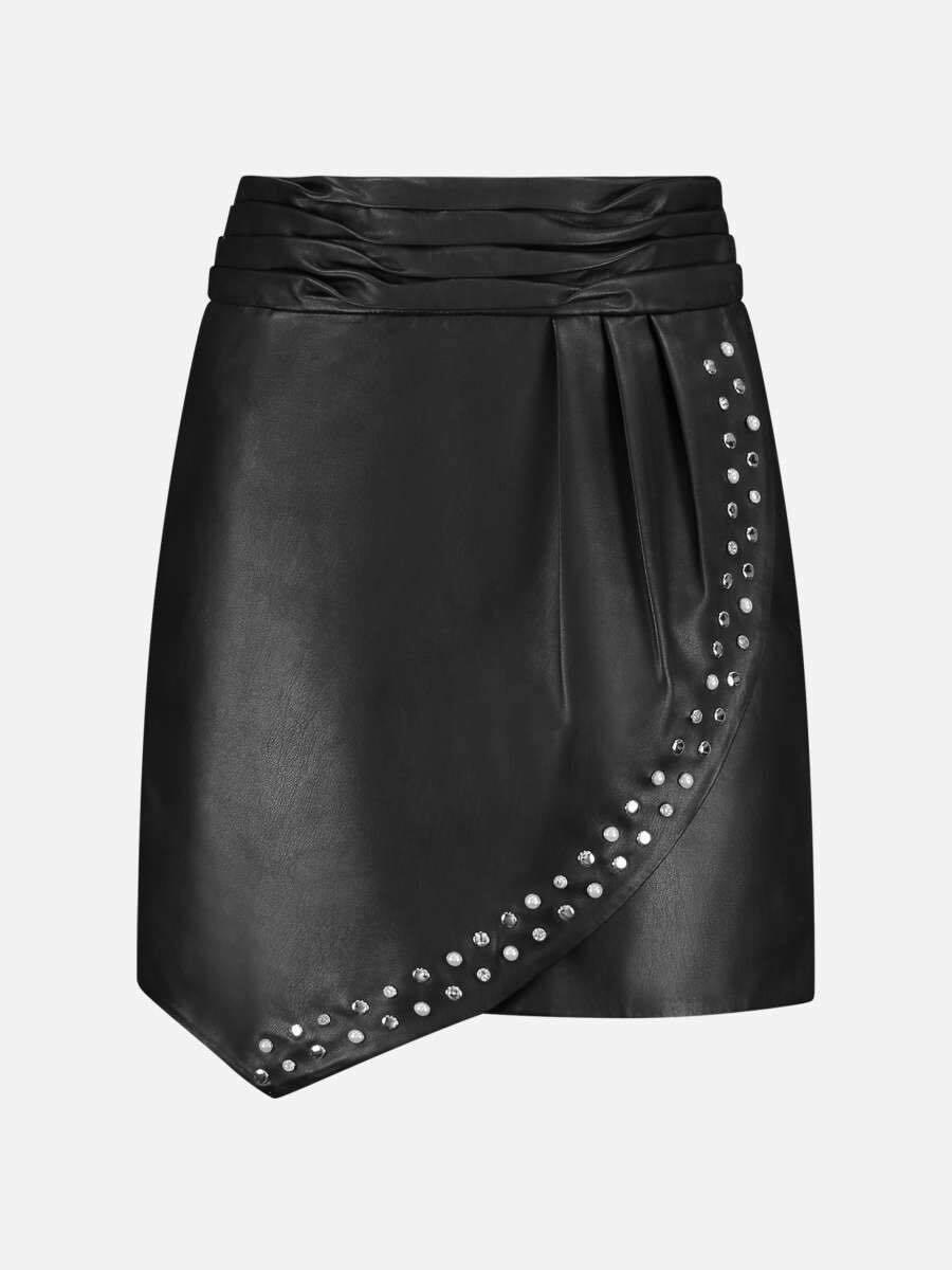 Nikkie rok zwart ecoleder met studs