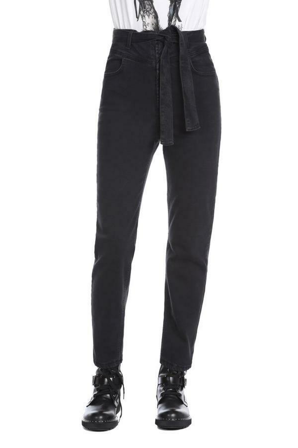 Relish hoge taille jeans zwart met riem