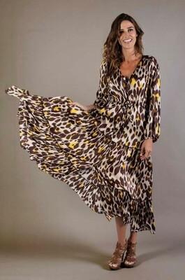 Joyce & Girls kleed lang leopard bruin