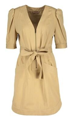 Twin Set beige jurk met riem, rits en pofmouwen