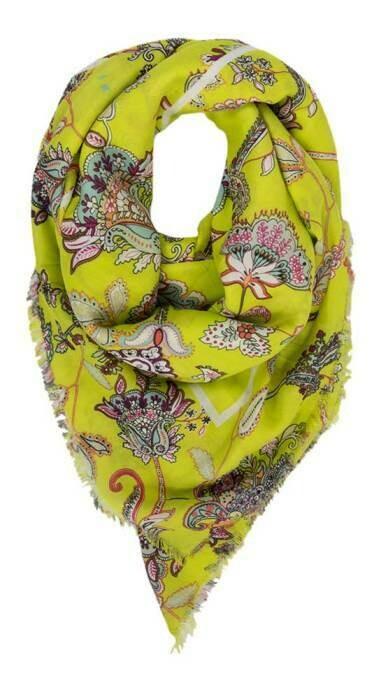 Twinset sjaal lichtgroen met bloemenprint