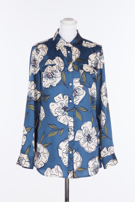 Twinset blouse blauw met bloemenprint