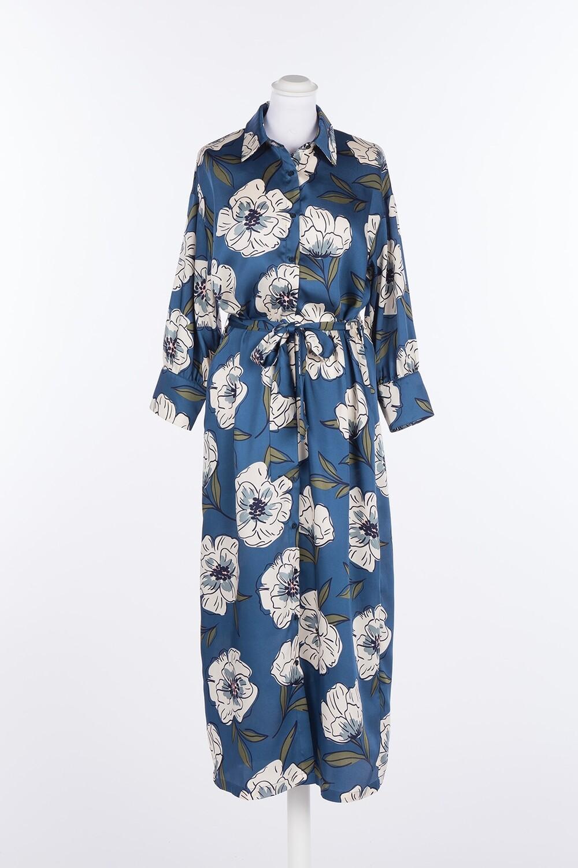 Twinset lang hemdkleed blauw met bloemenprint