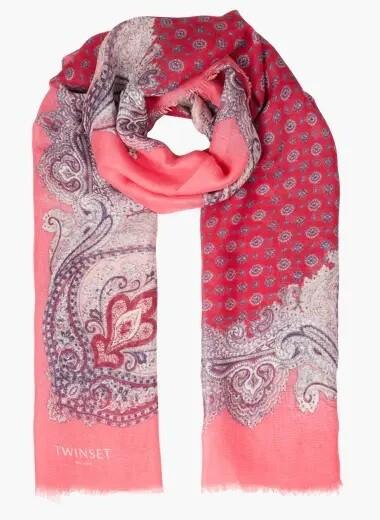 Twinset foulard van gemengd linnen met roze print