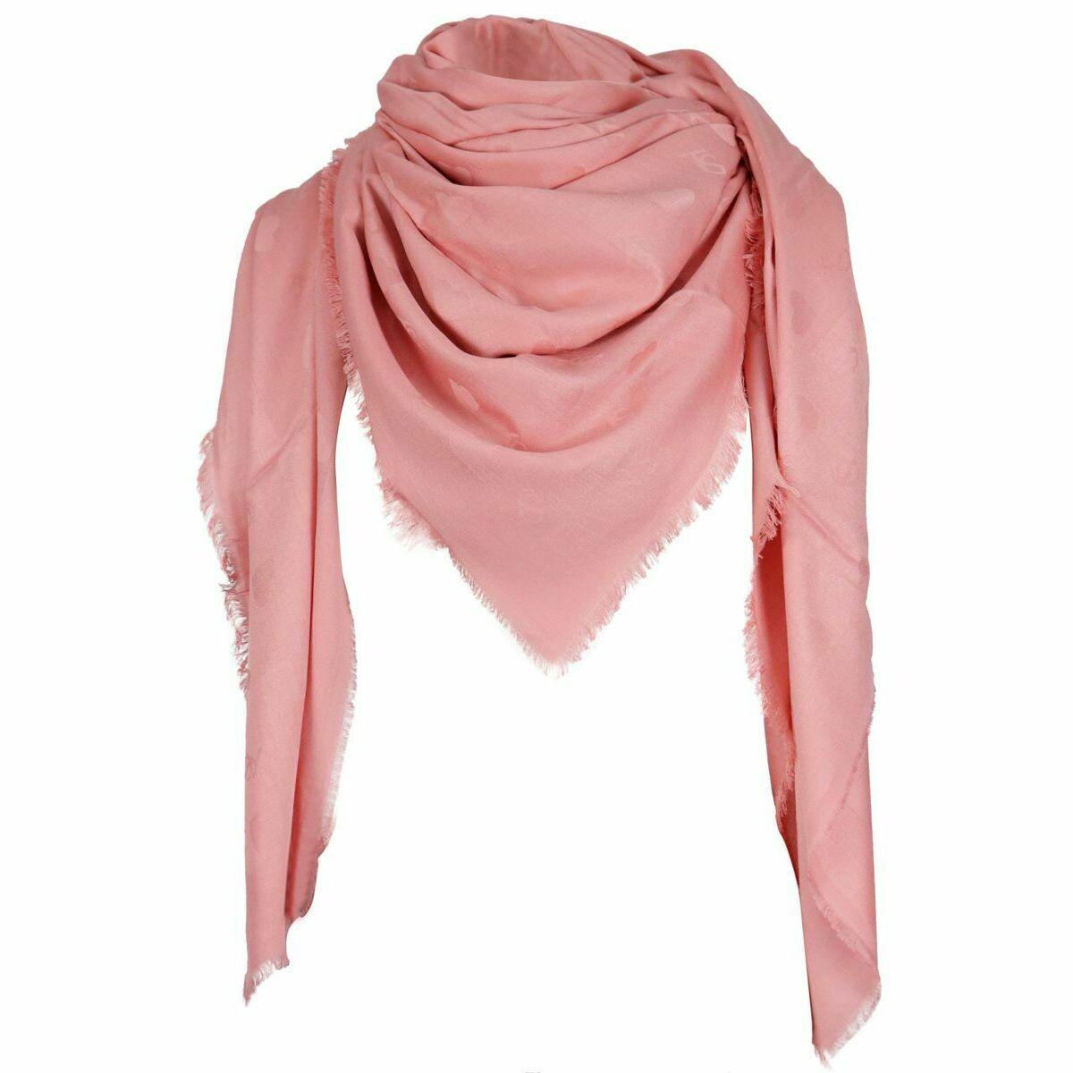 Twinset sjaal peach blosso met geweven hartjesmotief