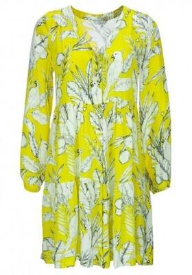Frogbox kleedje geel met witte print
