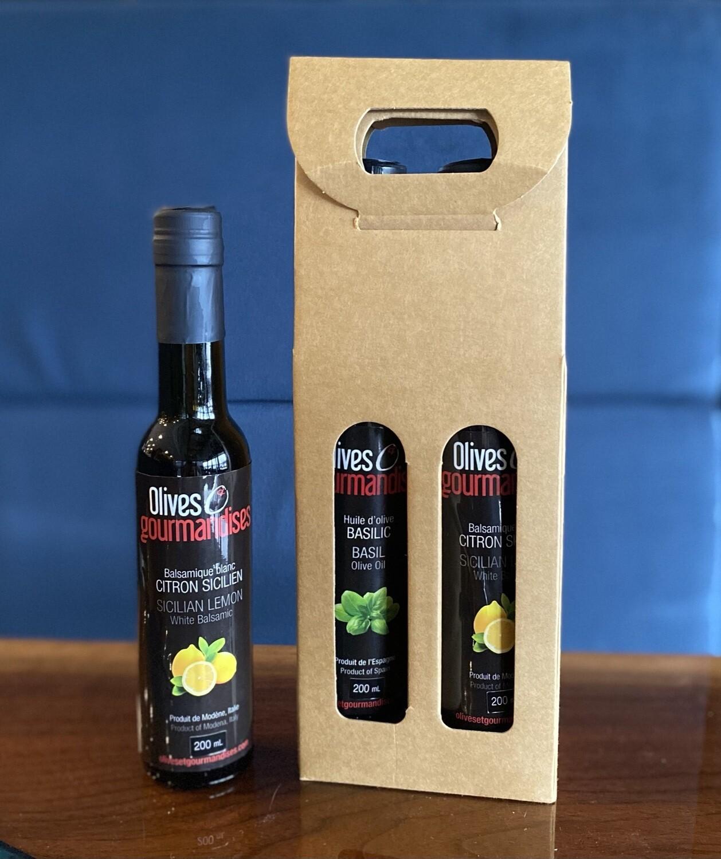 Duo Huile et Vinaigre balsamique Olives et Gourmandises 200ml