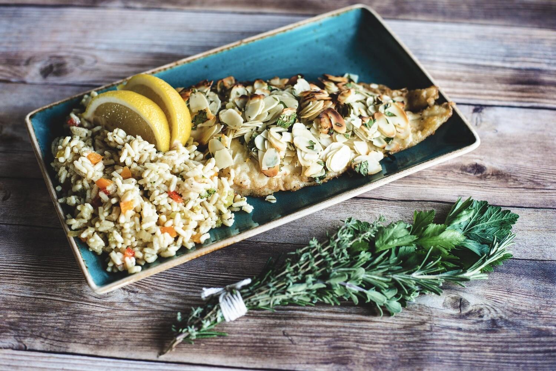 Filet de sole amandine sur couscous