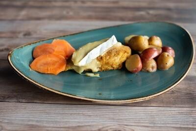 Poulet au brie avec pomme de terre farcie