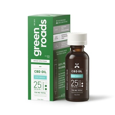 MINT BREEZE BROAD SPECTRUM CBD OIL, 25MG/ML (CALL TO ORDER)