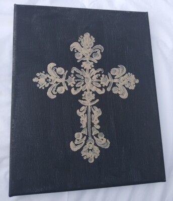 Black & Gold Cross Painting