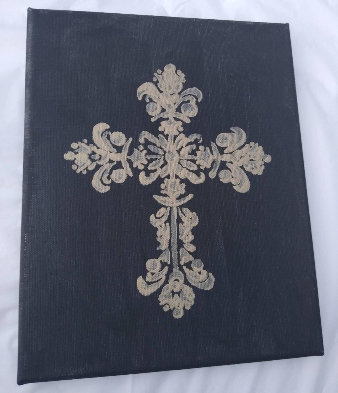 Black & Gold Cross Painting