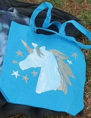 Blue Unicorn Reusable Tote Bag