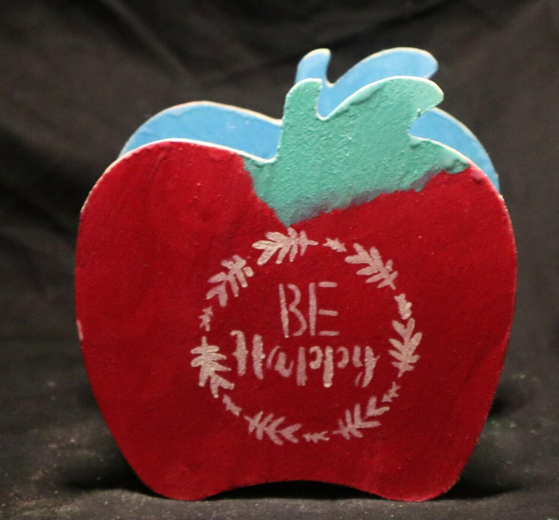 Be Happy Apple Wooden Box