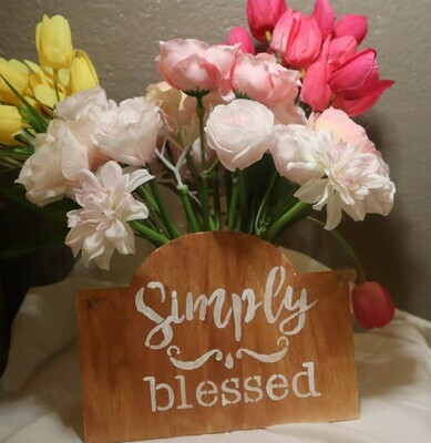 Simply Blessed Wood Plaque
