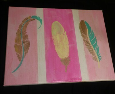 3 Feathers Canvas Painting
