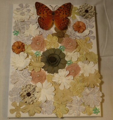 3D Art Flowers + Butterfly on a Canvas