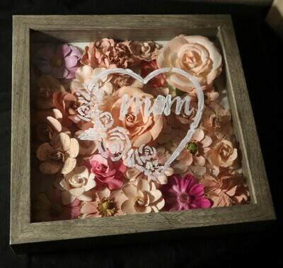 Mom Pink Flowers Shadow Box