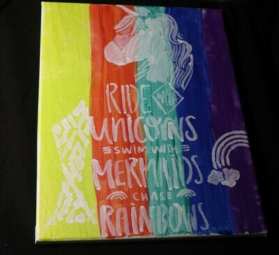 Ride With Unicorns Canvas Painting