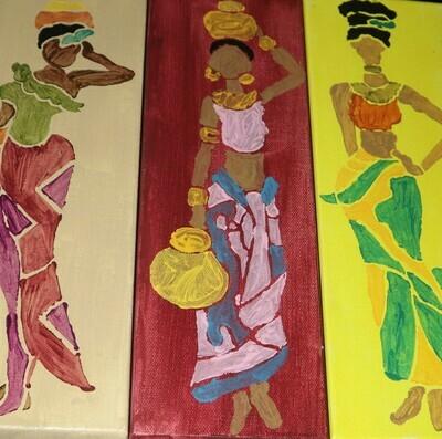 3-Set Ladies Canvas Painting