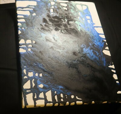 Blue and Black Pour Painting
