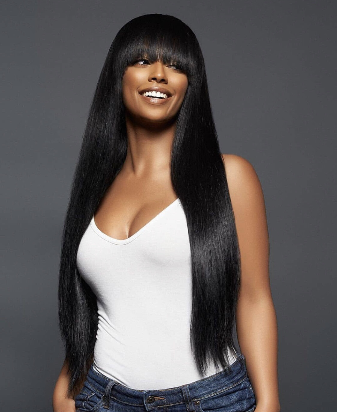 Natural color Wig with Bangs