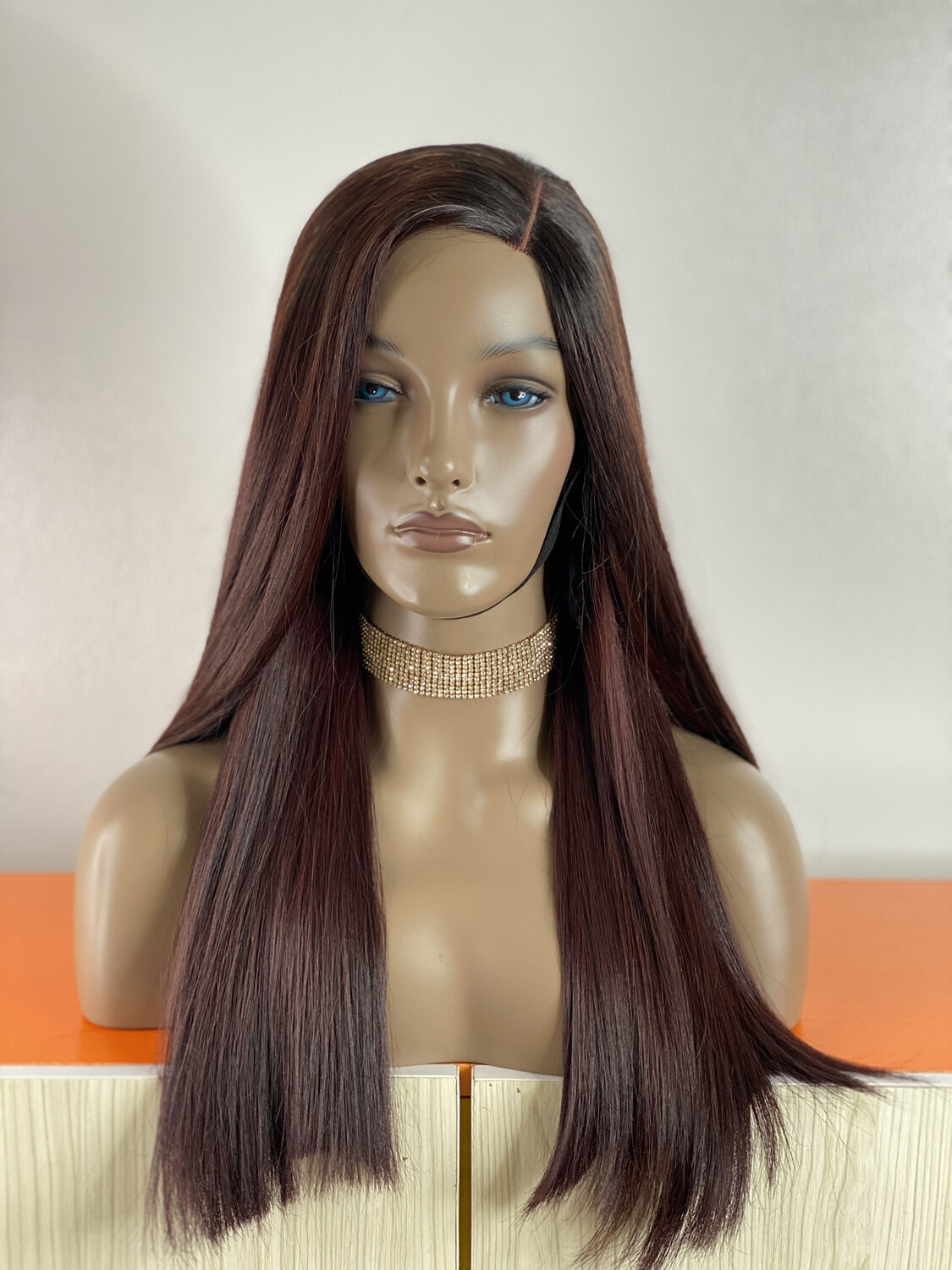 Burgundy Bone Straight Closure Wig