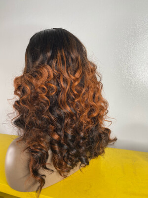 Orange Highlights Cedes Wavy  (5 By 5) Partial Frontal Wig