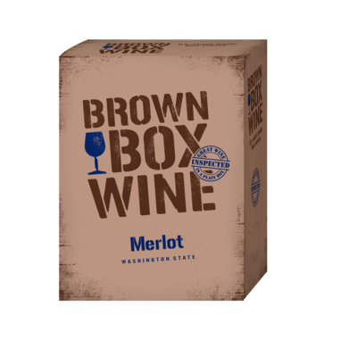 Brown Box Merlot, case of three 3L boxes