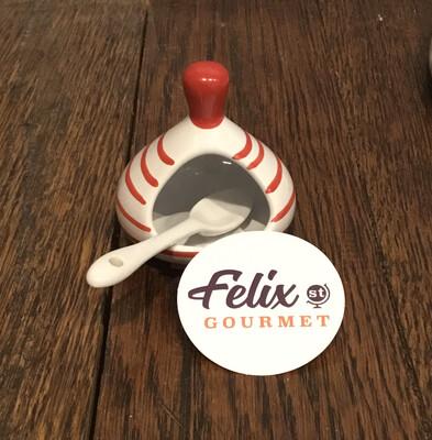 Ceramic Salt Dish + Spoon R Monchoix -Red/White
