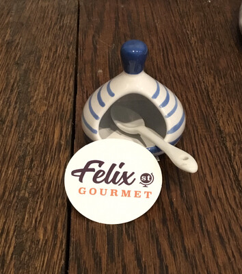 Ceramic Salt Dish + Spoon B Monchoix -Blue/white