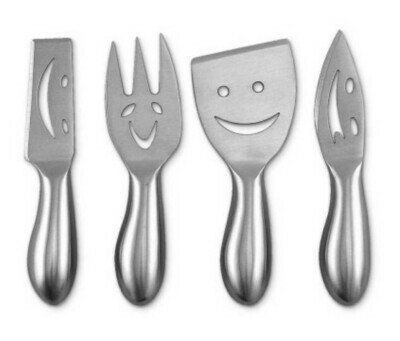4 Piece Smiley Face Cheese Knife Set #75-198